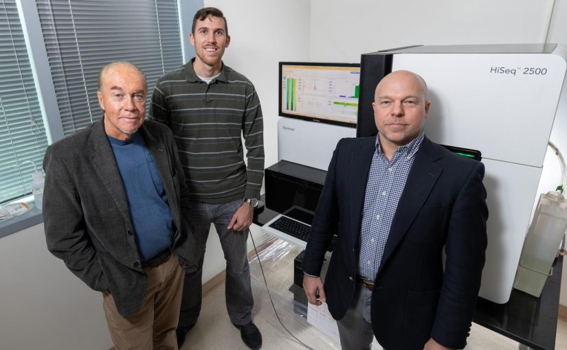 Georgia Tech researchers (l-r) John McDonald, Ph.D., Evan Clayton, a Ph.D., student, and Fredrik Vannberg, D.Phil., were among co-authors of a recent study showing how their open-source support vector machine (SVM)-based algorithm predicted the chemotherapy drug that provided the best outcome with greater than 80% accuracy. [Rob Felt, Georgia Tech]