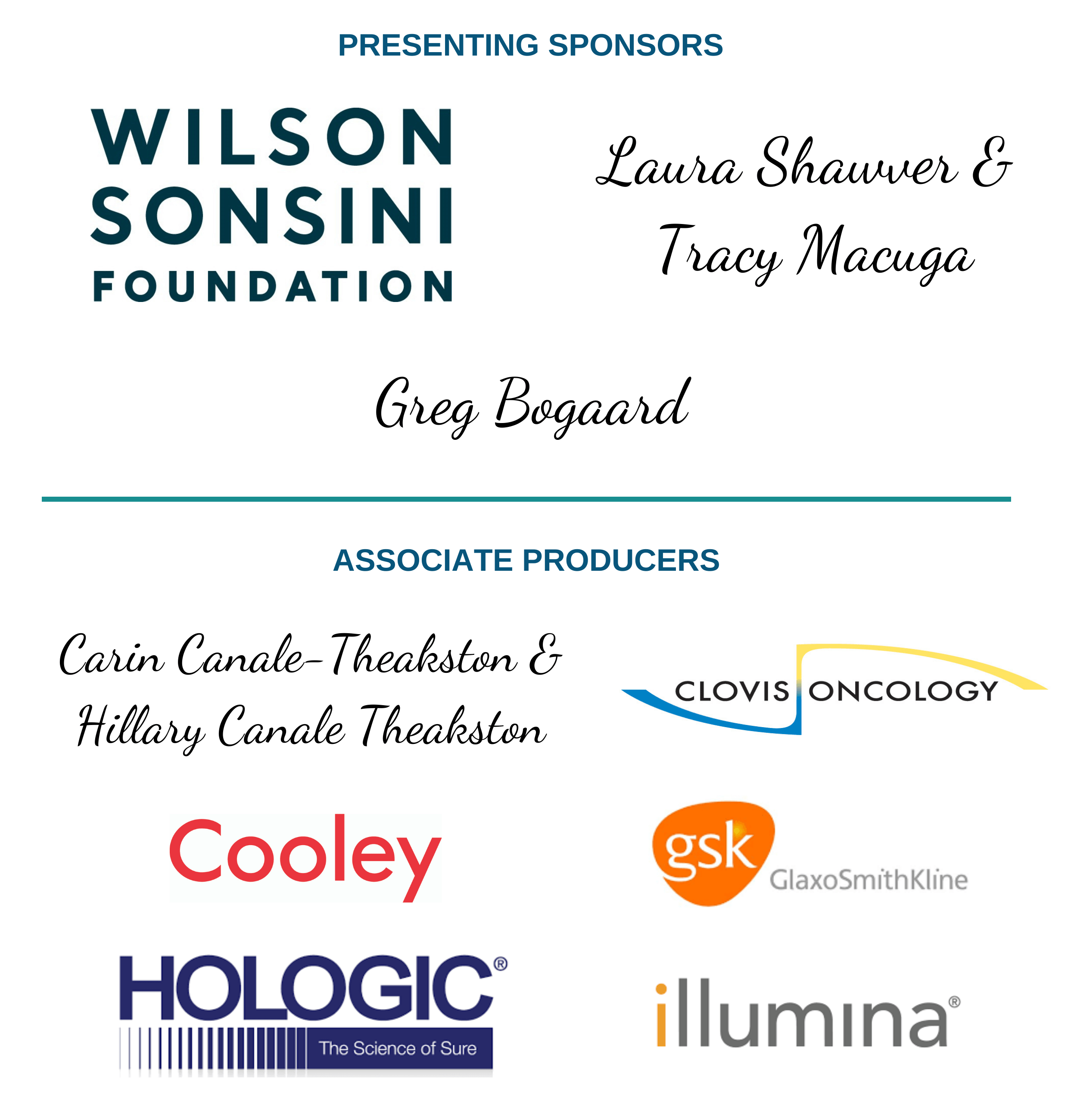 2021 Presenting Sponsors and Associate Producers