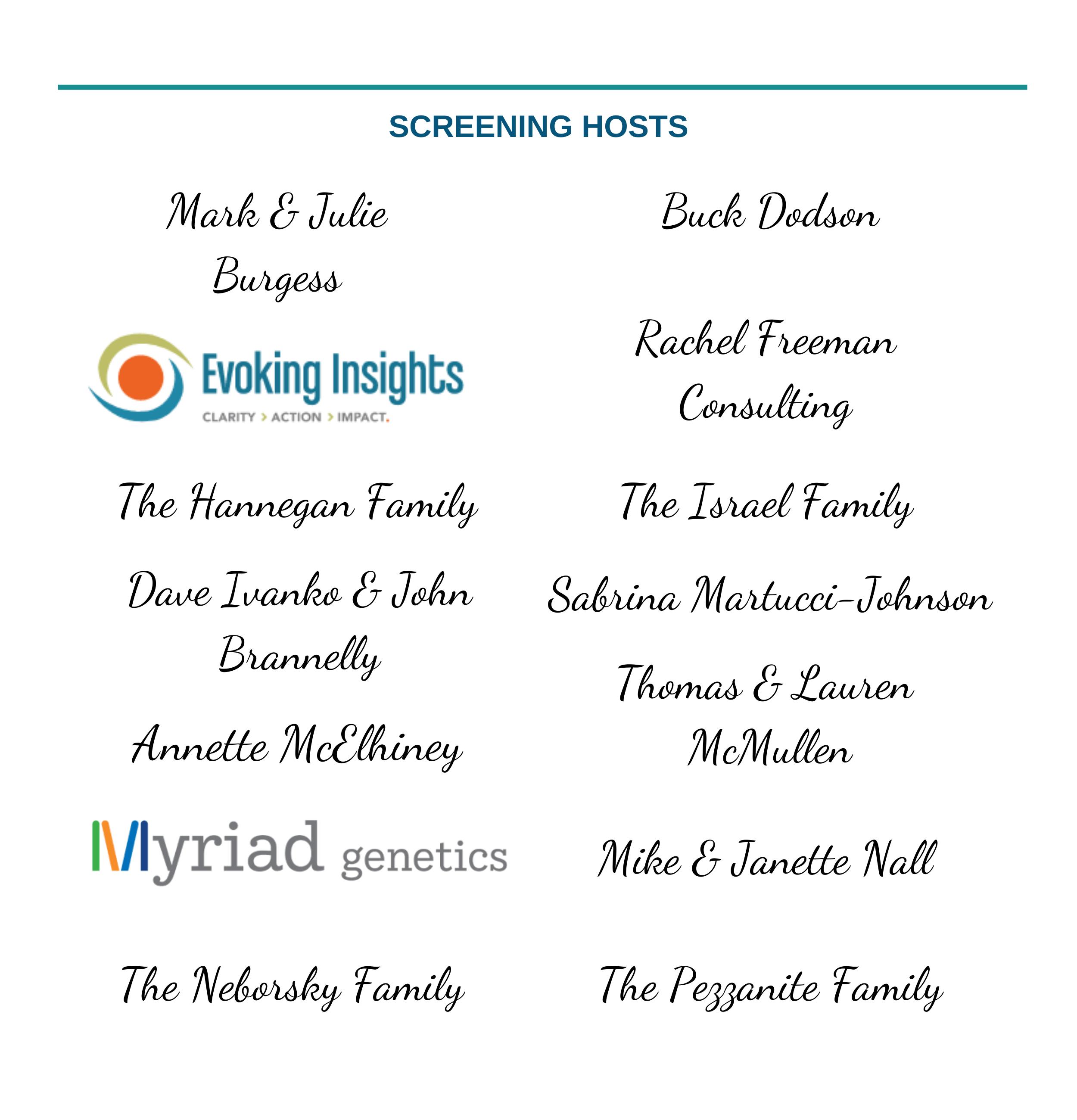 2021 Screening Hosts